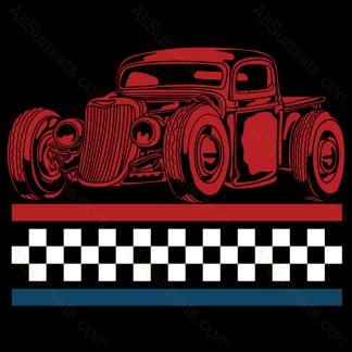 Vintage Pickup Checkered Flag Patriotic Stripes