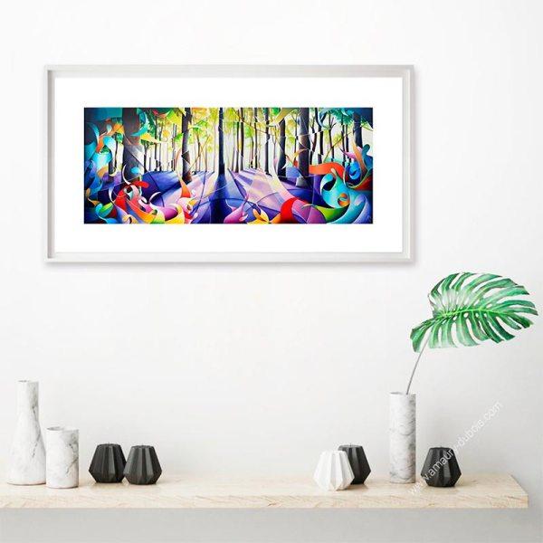 Reproduction tableau multicolore de forêt