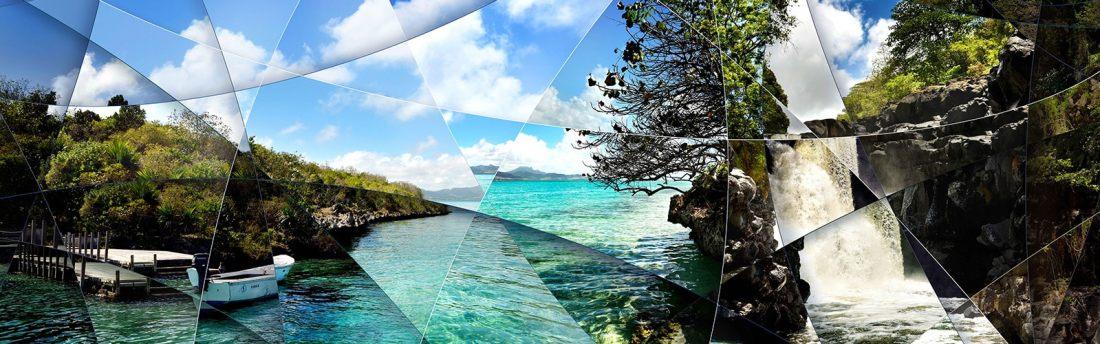 Photographie d'art contemporaine de lagon et paysage paradisiaque