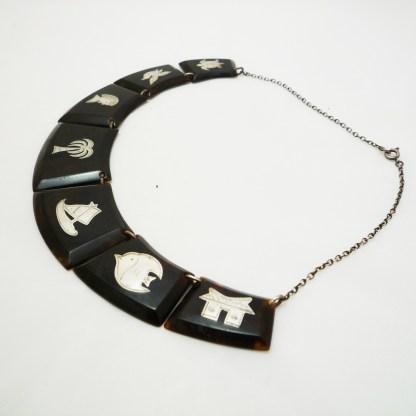 Art Deco Kette Schildpatt mit Silberintarsien