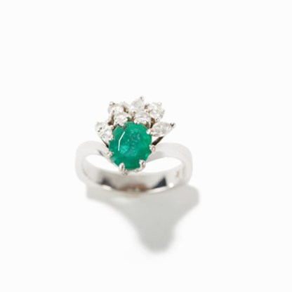 Smaragdschmuckset mit Diamanten, 18 Karat Weißgold