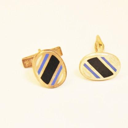 Manschettenknöpfe Art Deco oval schwarz blau