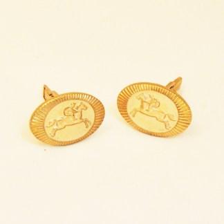 Manschettenknöpfe vergoldet Reitermotiv