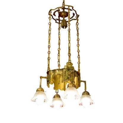 Dekorative Deckenlampe aus Messing, um 1880