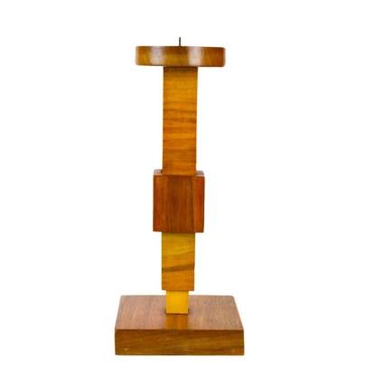 Kubistischer Holzleuchter im avantgardistischen Design, 1920er Jahre