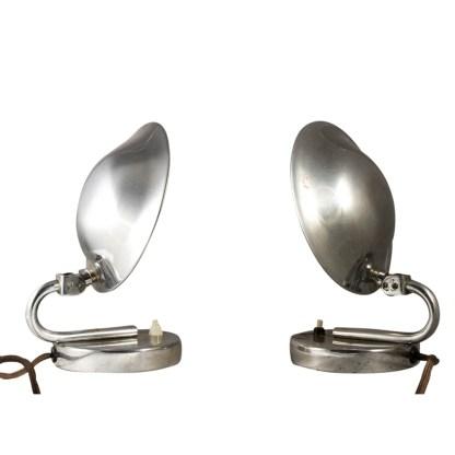 Paar Tischlampen, Messing verchromt, Art Deco, um 1920