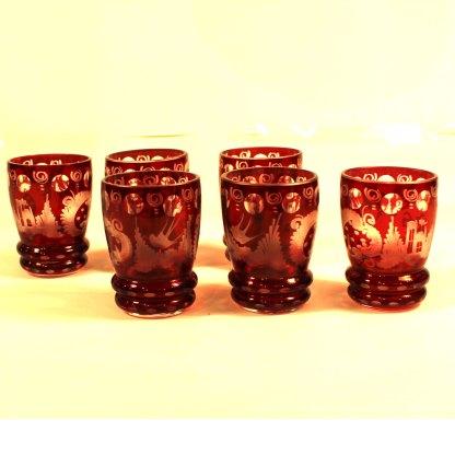 Set sechs Schnapsbecher Rubinglas