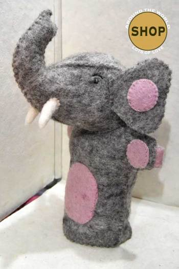 Handgemaakt vilt handpop olifant 5394 Speelgoed, dieren. Shop Around the World