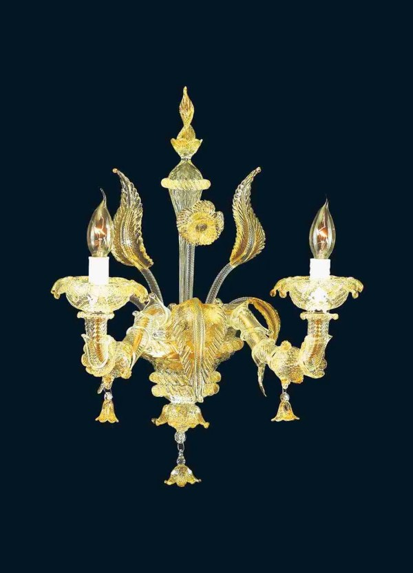 Rezzonico Crystal wall light 24k gold 2 lights handmade by master glassmakers in Murano glass, according to Venetian traditions.