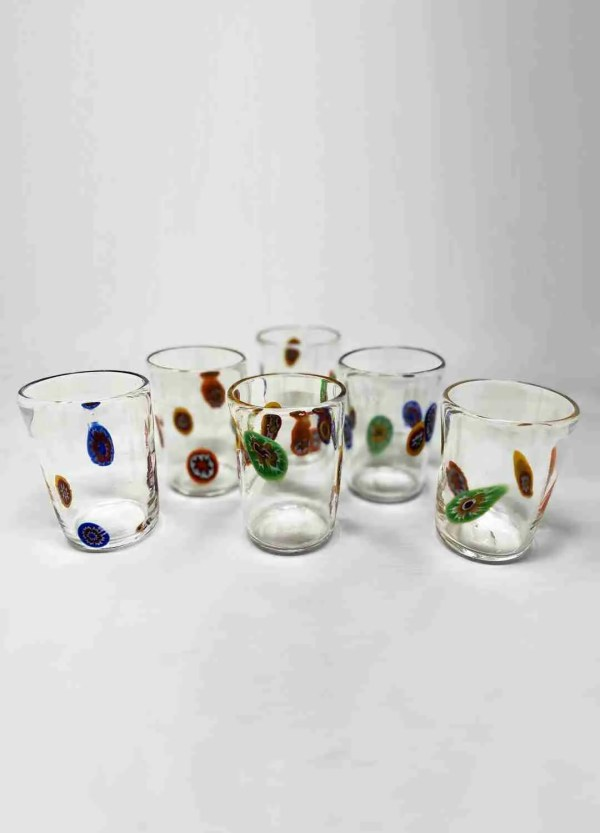 Table glass that was used for drinking in furnaces. Handmade by our glass masters in crystal and Murrine.