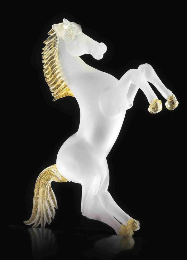Murano glass rampant horse in Murano glass made by our glass masters the body of the horse is in crystal with 24K gold decorations