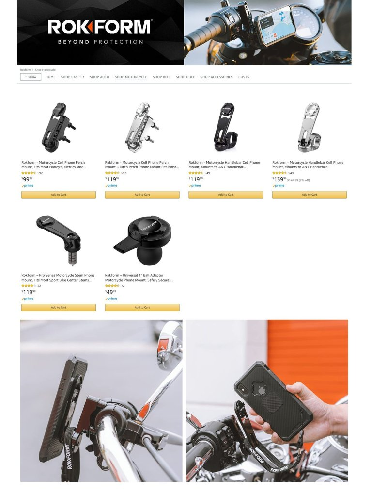 Rokform protective cases and motorcycle phone mounts