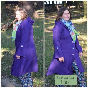 purple boiled wool cardigan coat