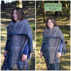 handwoven shawl in silk and wool blue