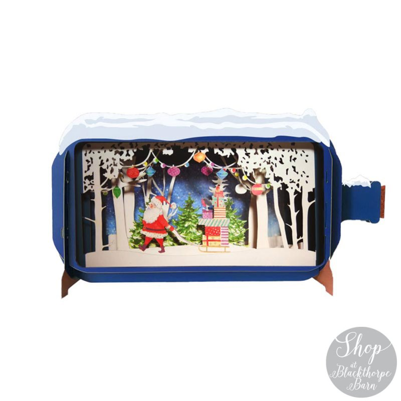 Christmas Message in a Bottle - Santa walking with sleigh
