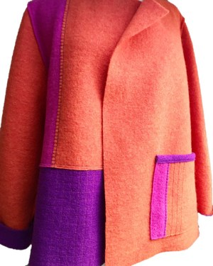 boxy style jacket in orange, magenta & pink