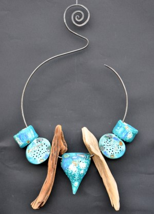 blue ceramic and driftwood Dreamcatcher