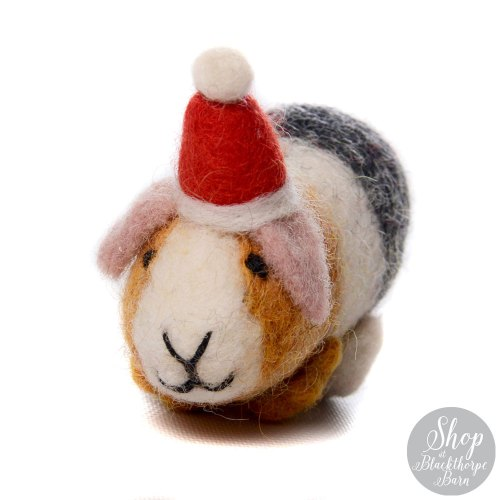 felt guinea pig with christmas hat decoration