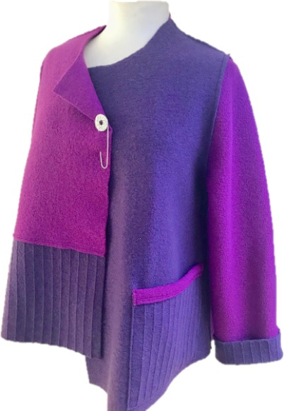 A boxy style jacket in an eye-catching combination of magenta & dark purple handmade by Sandra Hardy