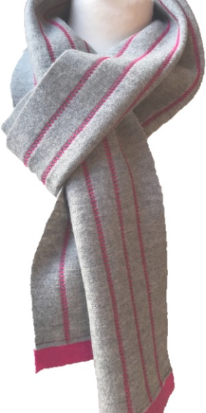 A soft lightweight 100% wool scarf in a light grey with pink trim and decorative stitching handmade by Sandra Hardy