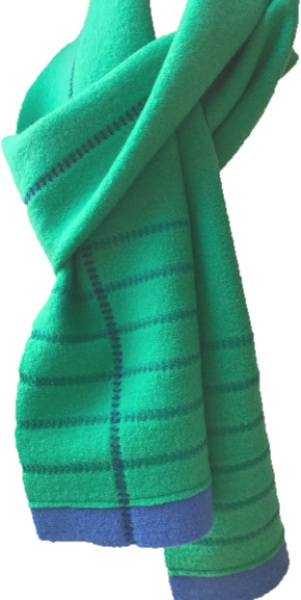 A soft lightweight 100% wool scarf in emerald green with navy trim and decorative stitching handmade by Sandra Hardy