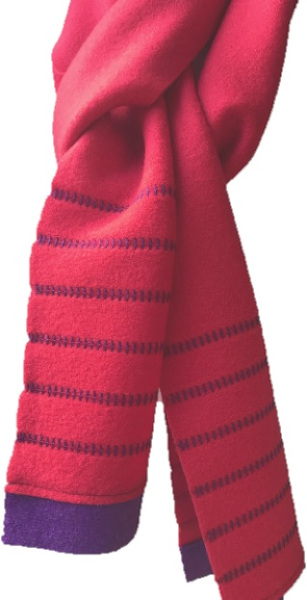 A soft lightweight 100% wool scarf in red with navy trim and decorative stitching handmade by Sandra Hardy