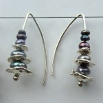 Pebble and Pearl Stack Drop Earrings in Grey