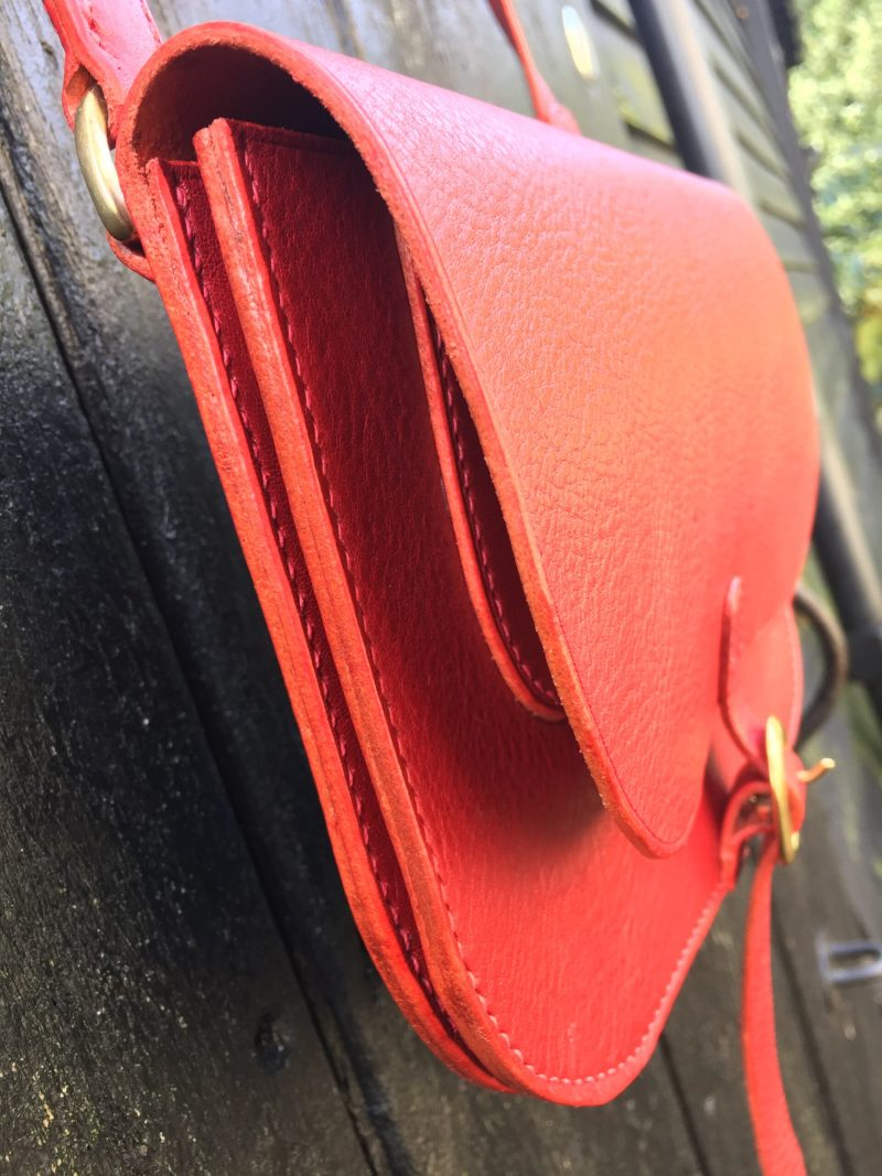 Red leather shoulder or cross-body bag