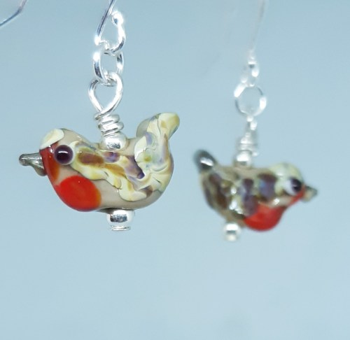 glass robin earrings handmade by amanda glanville