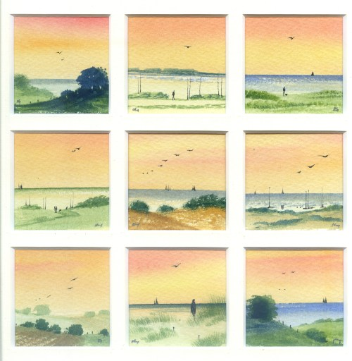 Early Morning Walk, watercolour from the Snapshots of Norfolk collection by Katie Millard