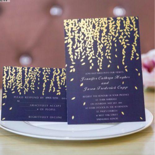 Econmicas Invitaciones Con Hojas Doradas Gold Leaf