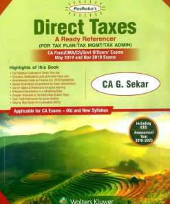 CA Final Direct Tax Book by G Sekar for May, Nov 2019 Exam (Old & New Syllabus)