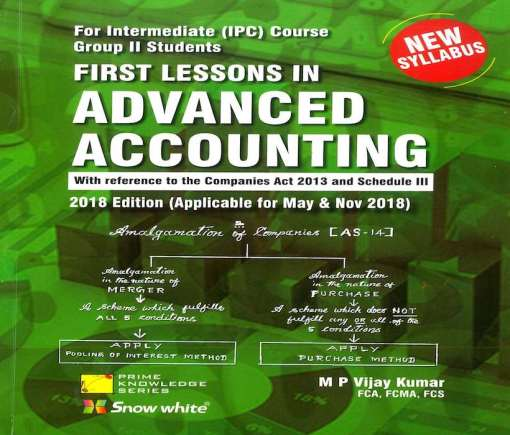 CA IPCC Advanced Accounting Book By M P Vijay Kumar for May, Nov 2018