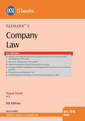 CS Executive Company Law Book by Tejpal Sheth for Dec 2018 Exam