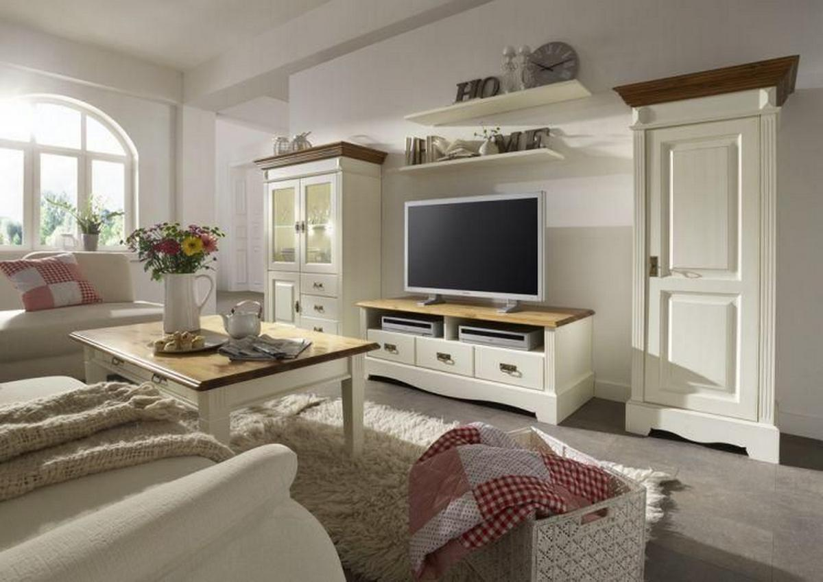 landhaus wohnzimmer komplett kiefer paris 2 farbig champagner und goldbraun lackiert