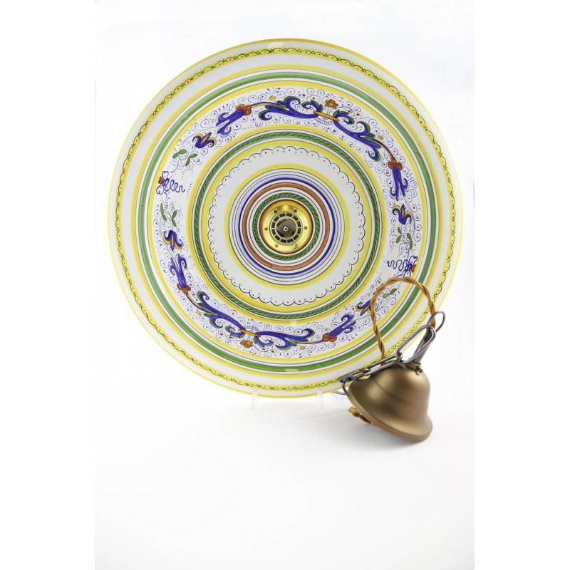 Diffusori plissettati in ceramica dai profili dipinti a mano evidenziano la maestria degli artigiani che. Lampadario In Ceramica Dipinto A Mano A Deruta In Stile Ricco Deruta