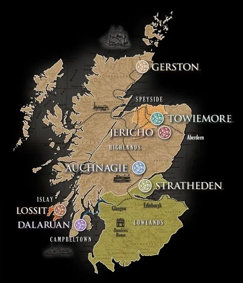 The Lost Distillery Company whisky region map
