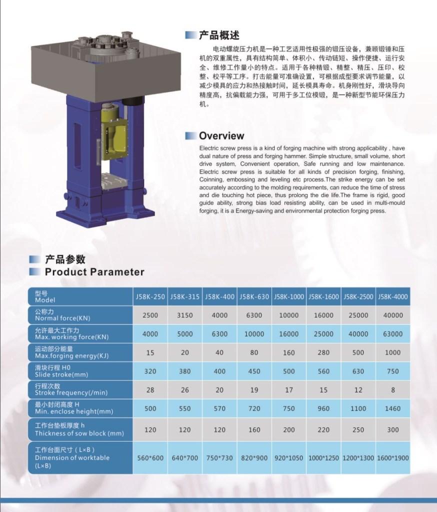 Электрический винтовой пресс (J58K)