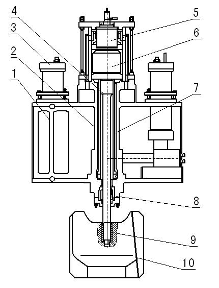 Схема общей структуры полногидравлического молота 1- цилиндрическая балка 2- главный цилиндр 3- аккумулятор 4- шток 5- главный управляющий клапан 6- буферный клапан 7- гильза цилиндра 8- нижнее уплотнительное отверстие 9- коническая втулка 10- баба