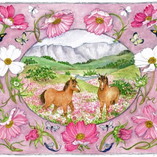 Cosmos and Horses Embroidery Kit