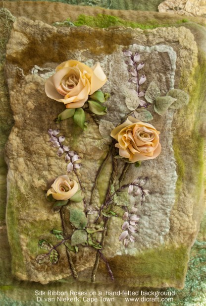 Sampler: English Rose on Felted Wool and Silk