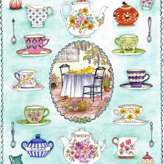 Time for Tea A4 (Medium) embroidery panel, ready to embroider
