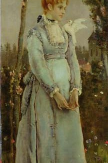 NL17 – Spring Lady with blue dress A4 (Medium) embroidery panel
