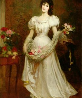 NL20 – Lady with shawl of roses A3 (Large) embroidery panel