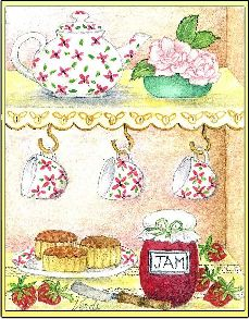 Tea Cups embroidery panel, ready to embroider