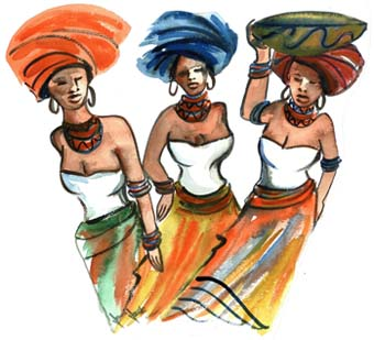 Xhosa Ladies No 5 - A4 (Med) embroidery panel