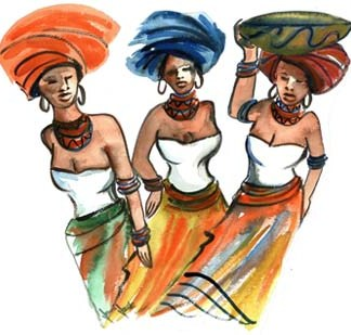 Xhosa Ladies No 5 - A3 (Large) embroidery panel