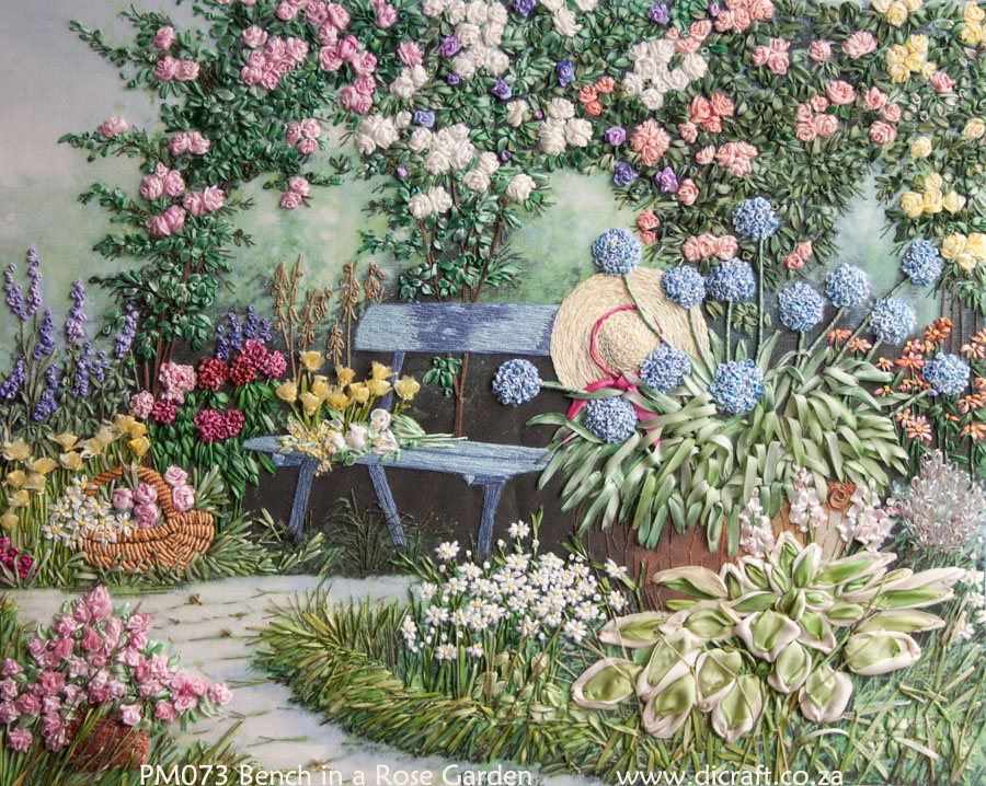 A garden in silk ribbon embroidery and stumpwork