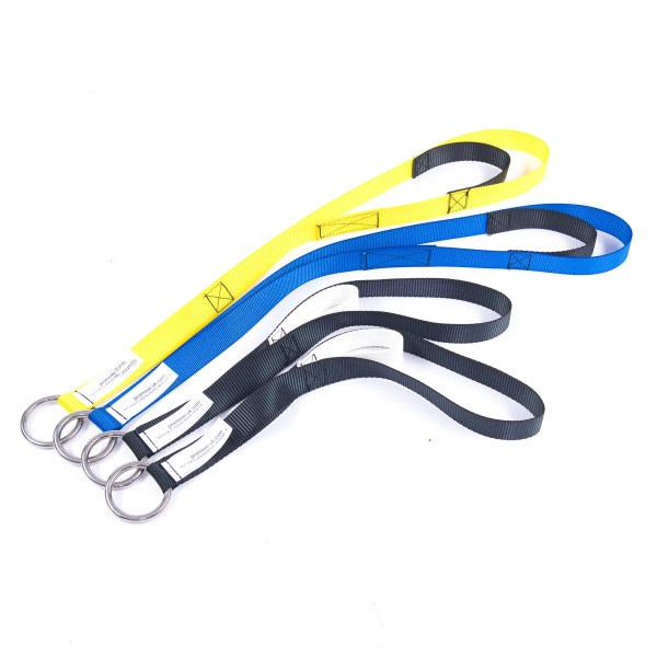 Set of four ProMove hoist sling straps in black, yellow and blue