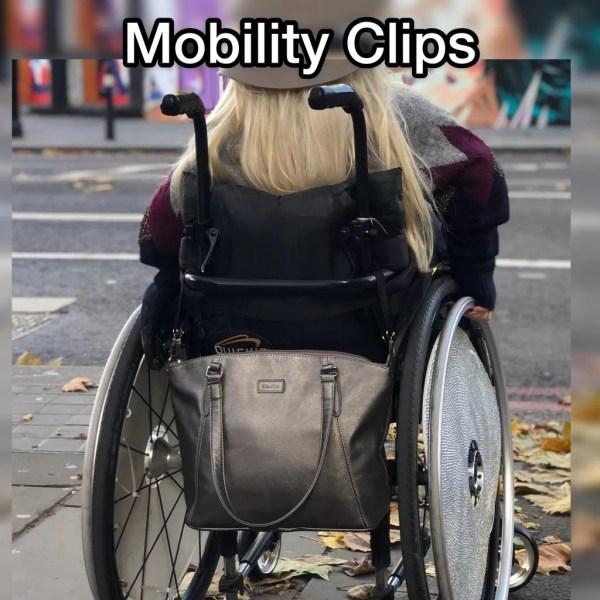 Sam Renke with her handbag on the back of her wheelchair